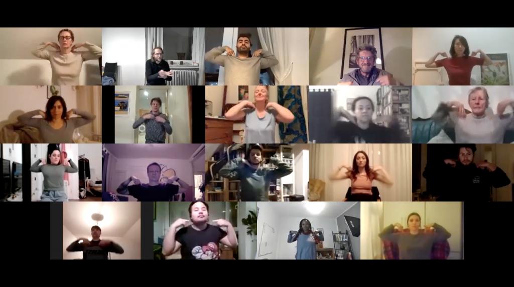 Teilnehmer:innen bei den Zoom-Proben